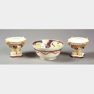 Three English Imari Porcelain Tablewares
