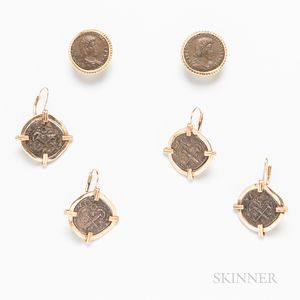 Three Pairs of 14kt Gold and Ancient Coin Earrings