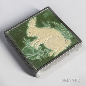 Rabbit Tile Attributed to Grueby Pottery