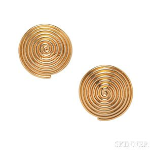 22kt Gold Earclips, Temple St. Clair