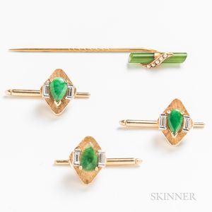 Three 14kt Gold, Jade, and Diamond Shirt Studs