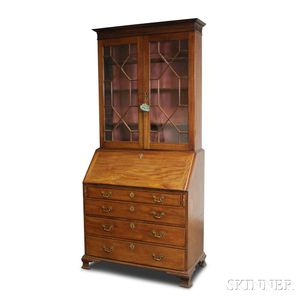George III Glazed Mahogany Desk/Bookcase