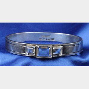 Sterling Silver and Rock Crystal Bangle Bracelet, Sweden