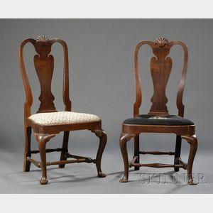 Pair of Queen Anne Carved Walnut Side Chairs