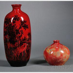 Two Royal Doulton Flambe Vases
