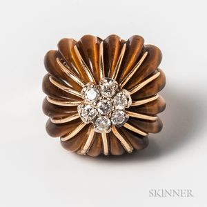 14kt Gold, Tiger's-eye, and Diamond Cocktail Ring