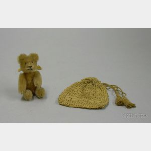 Small Schuco Mohair Articulated Teddy Bear and a Childs Crocheted Purse.