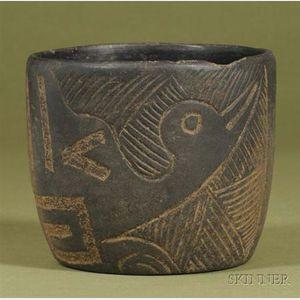 Pre-Columbian Carved Blackware Vessel