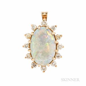 18kt Gold, Opal, and Diamond Pendant