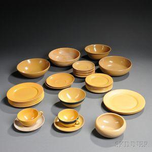 Thirty-three Pieces of Saturday Evening Girls /Paul Revere Pottery Dinnerware