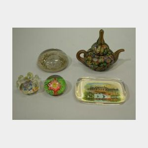Five Assorted Glass Paperweights
