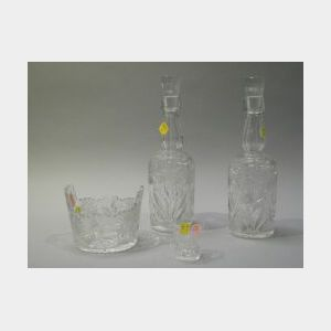 Four-Piece Daisy and Butterfly Colorless Cut Glass Liquor Set