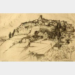 Lot of Three Architectural Views:    John Taylor Arms (American, 1887-1953), Saint Paul, Alpes Maritimes