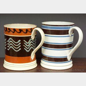 Two Mochaware Quart Mugs