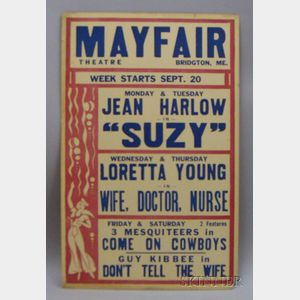 Jean Harlow/Mayfair Theatre Window Card Poster
