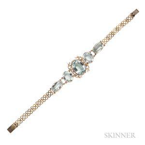 Antique Gold and Aquamarine Bracelet