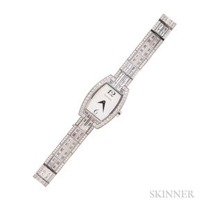 18kt White Gold and Diamond Tonneau Cocktail Watch, Tiffany & Co.