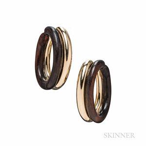 Van Cleef & Arpels 18kt Gold and Wood Hoop Earrings