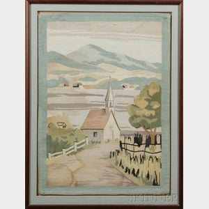 Large Framed Hooked Rug with House and Trees