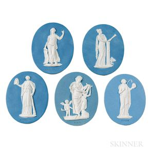 Five Wedgwood & Bentley Solid Blue Jasper Medallions