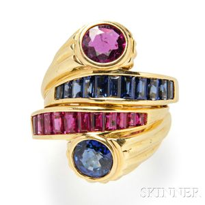 18kt Gold, Ruby, and Sapphire Bypass Ring
