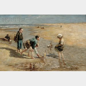 Attributed to Bernardus Johannes Blommers (Dutch, 1845-1914)      Children Playing on the Beach.