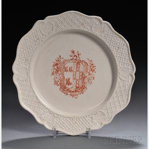 Staffordshire Red Transfer-printed White Salt-glazed Stoneware Plate