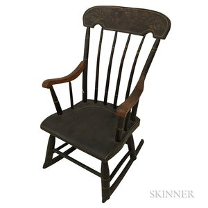 Grain-painted and Stenciled Child's Boston Rocker