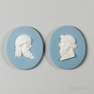 Two Wedgwood & Bentley Solid Blue Jasper Portrait Medallions