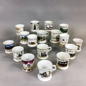 Seventeen Porcelain Shaving Mugs
