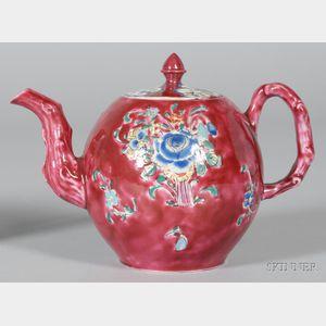 Staffordshire White Saltglazed Stoneware Pink Ground Teapot and Cover