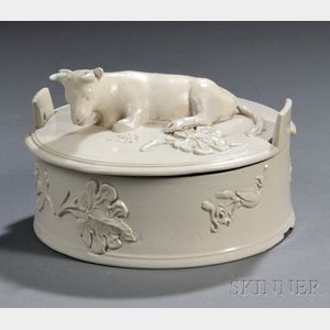 Staffordshire White Salt-glazed Stoneware Butter Tub and Cover