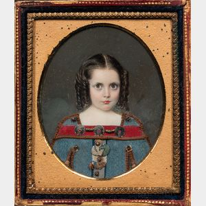 American School, 19th Century      Miniature Portrait of a Girl with Curls