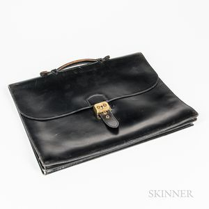 Vintage Black Leather Hermes Attache
