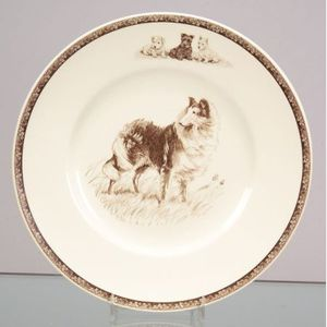 Eight Wedgwood Brown Transfer Printed Dog Plates