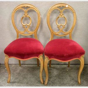 Pair of Rococo-style Fruitwood Balloon-back Parlor Side Chairs