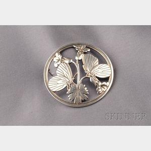 Sterling Silver Butterfly Brooch, Georg Jensen