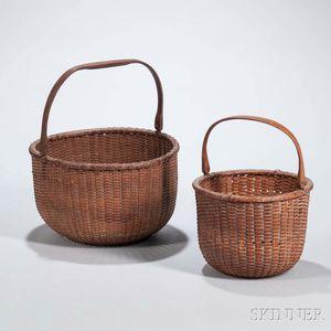 Two Round Nantucket Lightship Baskets