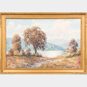 European School, 20th Century      Fall Landscape with Lake