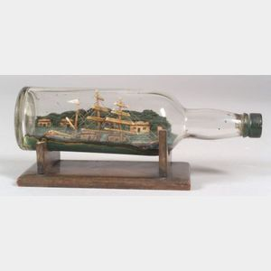 Carved Wooden Ship in a Bottle