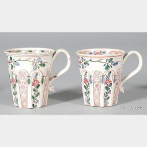 Two Similar Staffordshire White Saltglazed Stoneware Cups