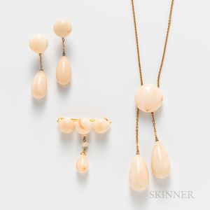 14kt Gold and White Coral Suite