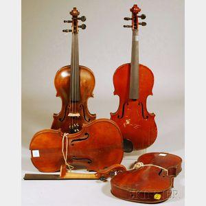 Four Restorable German Violins, c. 1920.