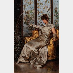 Charles Joseph Frédéric Soulacroix (French, 1825-1879)      Woman at Leisure Reading