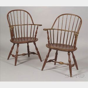 Pair of Painted Sack-back Windsor Chairs
