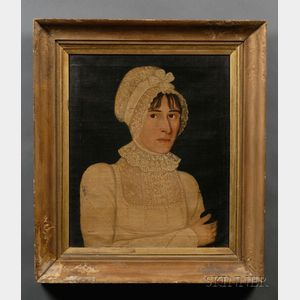American School, Early 19th Century      Portrait of a Woman in White.