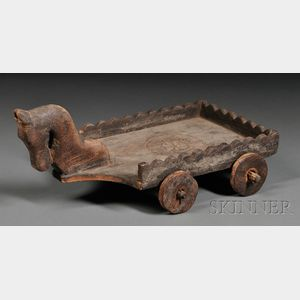 Folk Art Carved Wood Child's Wagon