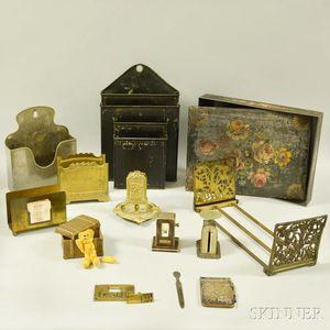 Group of Metal Desk Accessories