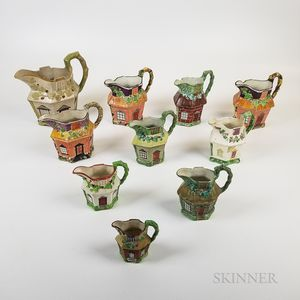 Ten Staffordshire Ceramic Cottage Jugs
