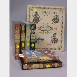 """Six Assorted Children's Books and a 1933 """"Little Women"""" Needlework Sampler"""